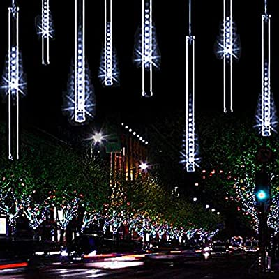 11.8 inch 10 Tubes 240 LED Meteor Shower Raindrop Lights Cascading Lights LED Icicle Lights Falling Raindrop Christmas Lights for Holiday Party Wedding Christmas Tree Decoration