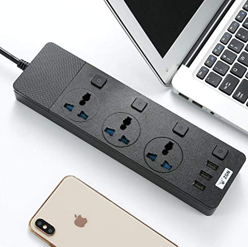 Cable de extensión con interruptores individuales,tomacorrientes de 3 vías 3 puertos de enchufe USB Protección contra sobretensiones Interruptor de toma de corriente Cargador portátil con ad