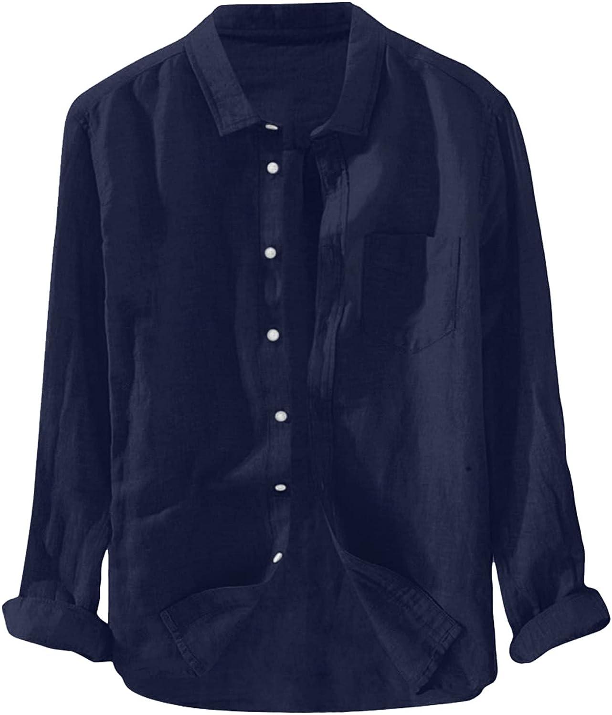 FUNEY Men's Long Sleeve Lightweight Cotton Linen Button Down Shirts Standard-Fit Plain Casual Shirt Tops Business Shirt