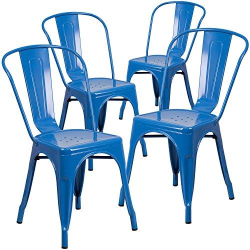 Flash Furniture 4 Pk. Blue Metal Indoor-Outdoor Stackable Chair