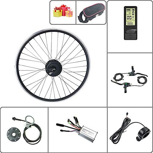 SCHUCK 36V48V 250W Electric Bicycle Conversion Kit 16'' 20'' 24'' 26'' 27.5'' 28'' 29'' 700C Rear-Rotate Wheel E-Bike kit with LCD4 Display Dise/Mountain Bike/Scooter (36V 250W 28inch)