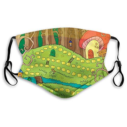 Gesichtsdekoration,Gesichtsschutzhülle,Gesichtsschal,Kindergarten Aktivität Brettspiel Design des Weges Zum Pilzhaus In Einem Wald Mehrfarbig Gesichts