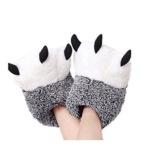 LANFRE Unisex Morbido Peluche Home Pantofole Pantofole con Ciondolo d'orso Animali Costume Paw Claw Shoes (38-39 /EUR, Grey)