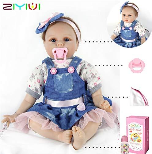 """ZIYIUI 22 """"55cm Reborn Baby Doll Vinilo de Silicona Bebé Realista Bebé recién Nacido Parece un bebé Real El Uso de una Falda de Mezclilla se ve Gratis y fácil"""