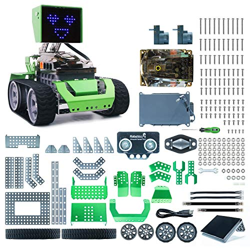 Robobloq STEM Robot Kit - DIY 6 in 1 Advanced Mechanical Building Block with Remote Control for Kids, Educational Toy with 233 Pieces for Programming and Learning How to Code (Green)