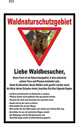 Melis Folienwerkstatt Schild Wald-Naturschutzgebiet - 30x20cm - Bohrlöcher - 3mm Aluverbund – 20 VAR S00359-203-A