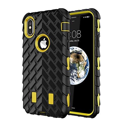 Funda para iPhone X, neumático de goma suave híbrida, resistente a golpes, doble capa, protección a prueba de golpes, funda de silicona para iPhone X 5.8 pulgadas