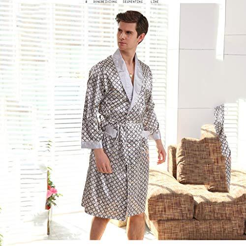 ZSQAW Neue Bademantel Herren Print Plus Size Robe mit Shorts 2 Stück Silk Satin Pyjamas Kimono Haus Bad Kleid Sommer Männlichen Nachthemd (Color : C, Size : Large)
