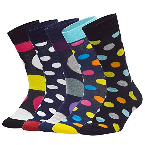 Sporzin Calcetines Hombres Señoras Multicolor Calcetines de peluche estampados coloridos 4/5 Par de calcetines divertidos Calcetines térmicos de algodón para deportes
