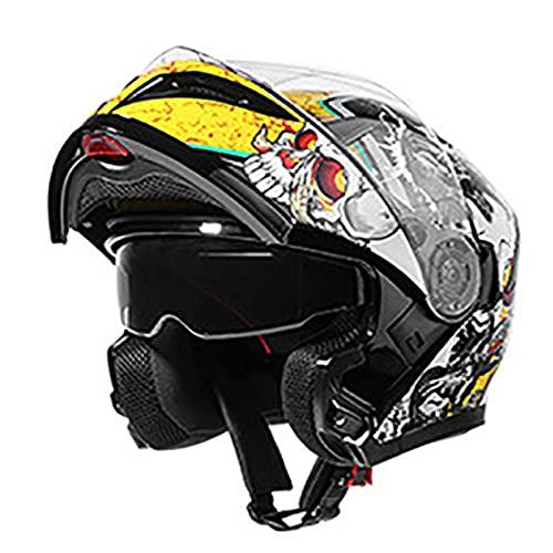 Casco Integral Para Motocicleta,Para Adultos con Doble Visera Anti-Rasguños y Protección Mujer Hombre Adultos Para Ciclomotor,Bicicleta Calle,Casco Carreras,Aprobado por DOT/ECE C,XL=61~62cm