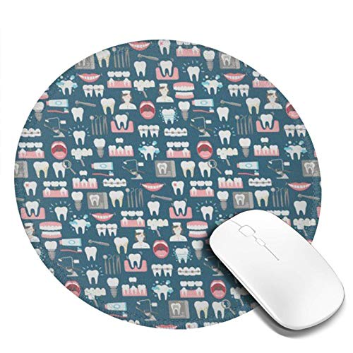 Dental Clinic Office Pattern Fabric Round Mouse Pad,Beautiful Mouse Mat, Cute Mouse Pad with Design, Non-Slip Rubber Base Mousepad, Waterproof Office Mouse Pad, Small Size 7.9 X 0.12 Inch