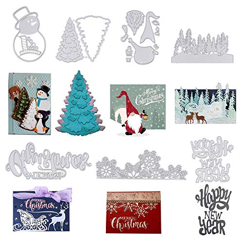 Yiphates Christmas Tree Metal Die Cuts, Metal Cutting Die Cuts, Scrapbooking Photo Album Christmas Trees Snowman Santa Claus Merry Christmas Happy New Year Snowflake, 7 Pcs