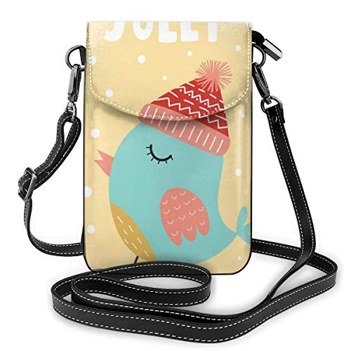 Lawenp Christmas Chicken Snowflake Crossbody Phone Purse Small Mini Shoulder Bag Cell Phone Pouch Leather Wallet For Women Girls