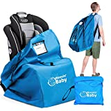 Car Seat Travel Bag for Airplane - Convertible Car Seat Bag – Car Seat Backpack for Airport Gate Check – Universal Fit Baby Travel Bags – Adjustable Straps Kids Airline Checkbag (Blue)