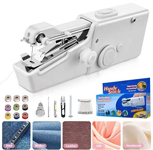 Mini máquina de coser portátil inalámbrica, máquina de coser portátil para ropa infantil, accesorios de bricolaje (batería no incluida)