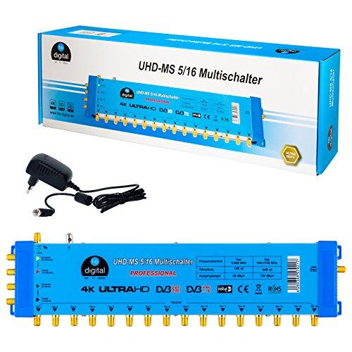 Multischalter pmse 5/16 HB-DIGITAL 1x SAT bis 16 x Teilnehmer / Receiver für Full HDTV 3D 4K UHD mit Netzteil
