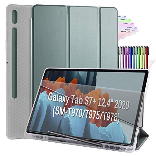 A-BEAUTY Funda para Galaxy Tab S7 Plus de 12,4' 2020 (modelo SM-T970 / T975 / T976), con [reposo/activación automática] [S soporte para bolígrafo] Soft TPU Translúcido Trifold Funda, Verde Oscuro