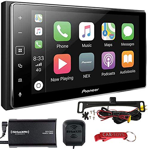 Pioneer MVH-1400NEX Apple CarPlay Car Stereo Bundle with SiriusXM Tuner and Backup Camera. 6.2' Double-DIN Bluetooth Multimedia Receiver with Capacitive Touchscreen. Maestro, Pandora and Spotify Ready