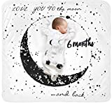 Baby Monthly Milestone Blanket Moon - Neutral Personalized Month Blanket for Boy Girl Newborn Soft Plush Fleece Photography Background Bonus Felt Milestone Number Set Large