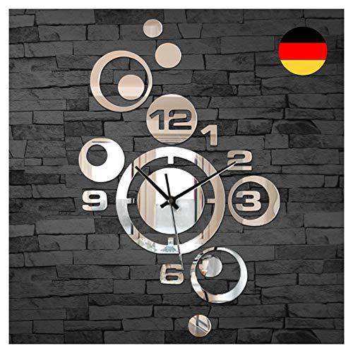Grandora Wandtattoo Moderne Wanduhr mit Spiegel I (BxH) 26 x 40 cm I Uhr Uhrwerk 3D Design Aufkleber selbstklebend Wandsticker Wandaufkleber Wandtatoo W842