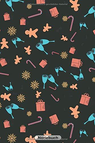 Notizbuch: Lebkuchen Kekse Zuckerstange Geschenke Motiv | 110 Seiten  Notizbuch liniertes Papier | ohne Rand | glänzendes Softcover | Notizbuch, Rezeptebuch, Schreibheft, Geschenkidee