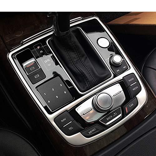 Gnnlor Edelstahlkonsole Armlehne Schalthebelrahmen Dekorative Abdeckung Zieraufkleber, für Audi A6 C7 2012-2017
