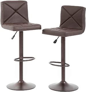 BestOffice Counter Height Bar Stools Set of 2 PU Leather Modern Height Adjustable Swivel Barstools Hydraulic Chair Bar Stools