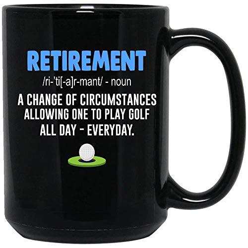 N\A Taza de café jubilación definición Golf café pami Regalo amic (Negro,)