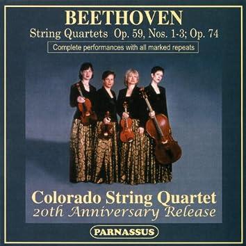 Beethoven String Quartets: Op. 59, Nos. 1-3; Op. 74