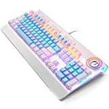 TISHLED Mechanical Gaming Keyboard with RGB LED Backlit Sidelight 104-Key Anti-Ghosting Blue Switch Metal Panel Ergonomic Dual-Functional Dial Light Up Keyboard Wired USB for PC, Mac, Laptop (White)