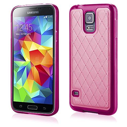 'Elegante TPU Silicona Funda Back Case Funda Rosa con trendiger Posterior de Piel sintética para Samsung Galaxy S5Neo Cover Carcasa Funda Funda Bumper