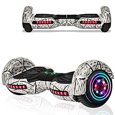 Hoverboard for Kids Adult Spider Self Balancing Hoverboard with LED Lights Wheels Bluetooth Speaker UL 2272 Certified Hover Board (White)