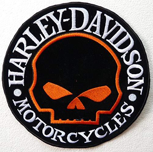 Patch écusson petit skull Harley Davidson Inscription Silver Contour orange