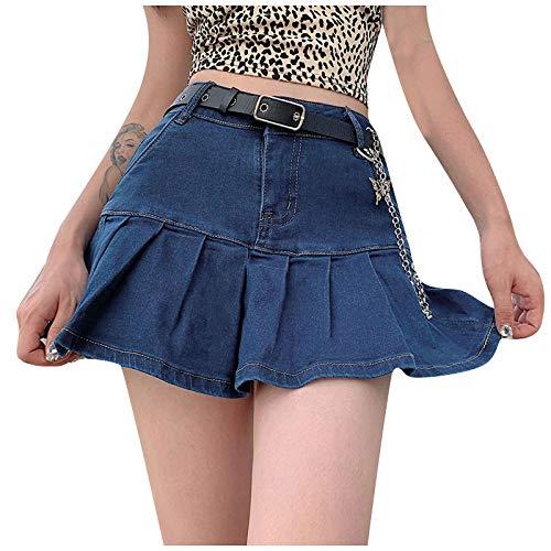 Damen Jeansrock mit Taschenabsatz Lässiger Gekräuselter Schmaler Stretch Hoher Taille Kurzrock KIMODO Frauen Skinny Röcke Faltenröcke Reißverschluss Miniröcke Streetwear Skirt (Blau, S)