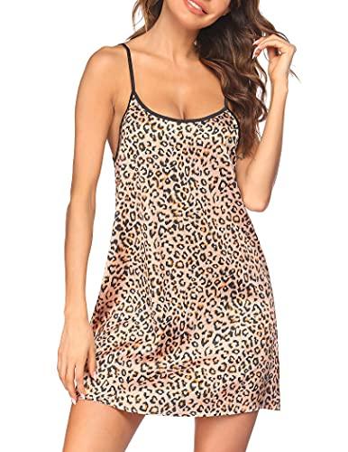 Ekouaer Women's Satin Nightgown Sleeveless Full Slip Nightwear Short Chemise Sleepwear(Leopard,XX-Large)