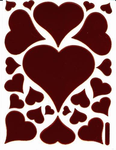 Coeur Amour Love Rouge autocollants 23 pièces 1 feuilles 135 mm x 100 mm Stickers bricolage enfants PARTY métallique
