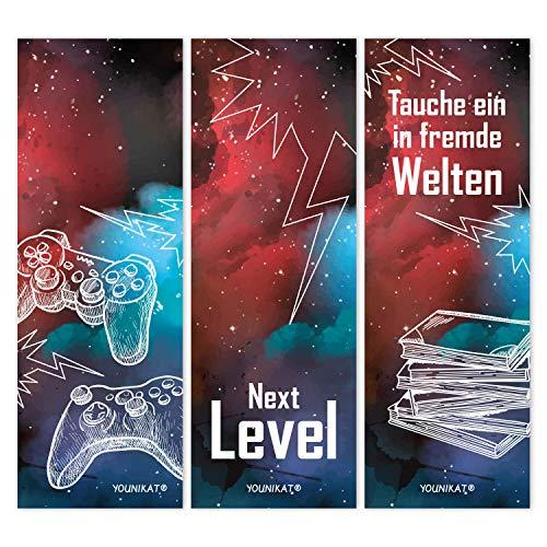 younikat 12er Set Gaming-Lesezeichen I 3 Coole Motive I für Kinder Jungen I Einschulung Schulanfang Schultüte I dv_582