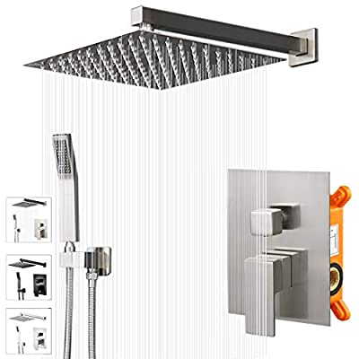 """KEBAO Shower System- Brushed Nickel Shower Faucet Set for Bathroom- State-of-the-art Air Injection Technology- 10"""" Square Rain Shower Head- Easy Installation- Eco-Friendly (10 Inch, Brushed Nickel)"""