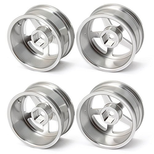 DN argento in lega di alluminio Cerchioni con 5 razze per RC 01:10 On Road Car (pacchetto di 4)