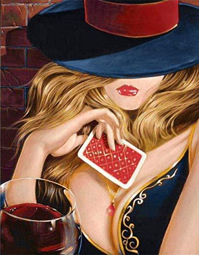 HCDZF Pintura por números para adultos niños poker niña lino lienzo DIY pintura digital por números kits (sin marco de 40 x 50 cm)