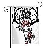 Pansyhome Welcome Garden Flag Vertical White Chic Hand Wild Nature Head Bone Elk Drawn Western Horn Reindeer Cattle Skull Vintage Drawing Yard Outdoor Decorative 12 x 18 Inch