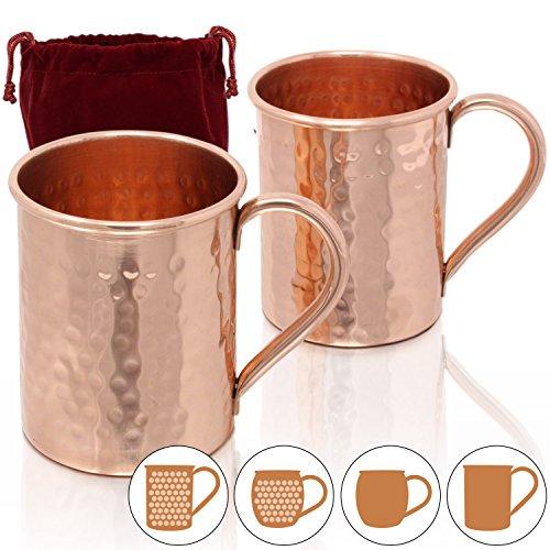 Amazy Moscow Mule Confezione Regalo - Set di 4 tazze in rame realizzate a mano con barra calcola volume, cucchiaino e 4 cannucce in rame per un piacevole aperitivo con gli amici (Set da regalo)