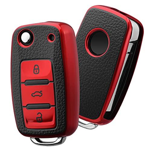 Funda para llave de coche VW, VW Golf, funda para llaves de Volkswagen, Polo, Passat, Skoda, Seat, 3 botones (cuero rojo)