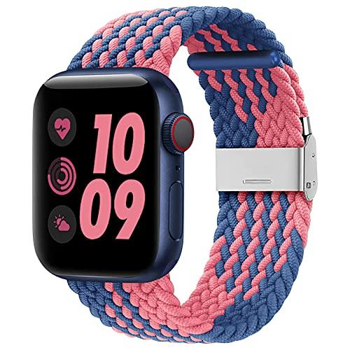 Wepro Correas Compatibles con Apple Watch Correa 40mm 38mm para Mujeres/Hombres, Correa de Repuesto de Nailon Ajustable Elástico para Apple Watch SE/iWatch Series 6 5 4 3 2 1, Azul/Rosado