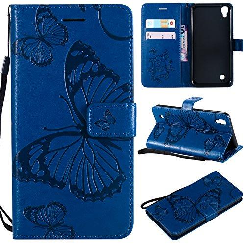 Kihying Funda para LG X Power / K220 / LS755 Funda Cáscara Case (KT/3D Mariposa Flor) A Prueba de choques Que Cae PU Cuero Caja del teléfono móvil (Azul)