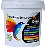 RyFo Colors Acryl Fassadenfarbe 1l (Größe wählbar) - weiße Außen-Farbe-Dispersion, Reinacrylat Basis, wasserabweisend, hohe Deckkraft, höchster Wetterschutz, lösemittelfrei