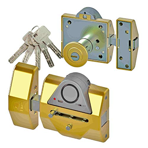 Lince Pack de Cerrojo Reforzado con Alarma 7930RSA y Cilindro Alta Seguridad 35x30 Dorado Llaves Iguales, 0