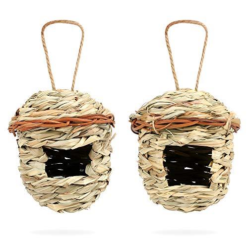 Welltop Hand Woven Hummingbird House Hanging Hummingbird Nests for Outdoors Natural Reed Straw Grass Bird Hut, 2 Pack