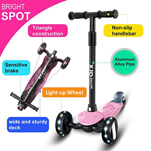 XJD Kids Scooter 3 Wheels Age 2-8 -Girls Scooter Light Up - Adjustable Height Handle - for Toddler Children Boys - Max Weight Load 50 kg(Pink)