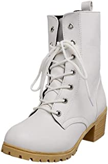 Ankle Winter Boots Women Shoes, Horse Desert Mid Martin Steel Toe High Block Heel Platform Insoles Lace Up Size 3-7 (Color : White, Size : 4 UK)